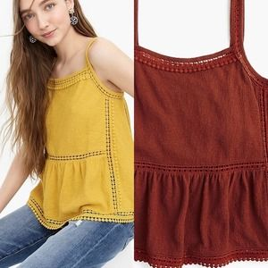 J. Crew Point Sur Embroidered Trim Tank Top Large